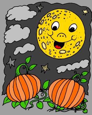 Pumpkins at dusk free coloring page