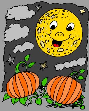 Pumpkins at dusk free coloring page