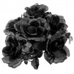 Halloween Black Rose Bouquet with Plastic Spiders