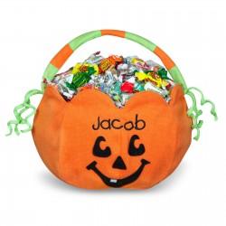pumpkin embroidered plush treat pail
